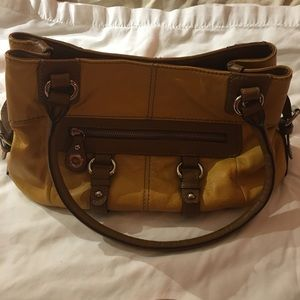 Clarks leather bag mustard yellow and brown